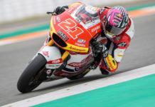 Fabio Di Giannantonio (21) in action at Valencia. Photo courtesy Federal Oil Gresini Moto2 Team.