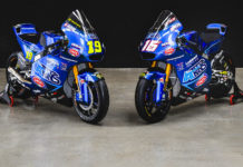 The Italtrans Racing Moto2 racebikes of Lorenzo Dalla Porta (19) and Joe Roberts (16). Photo courtesy Italtrans Racing.