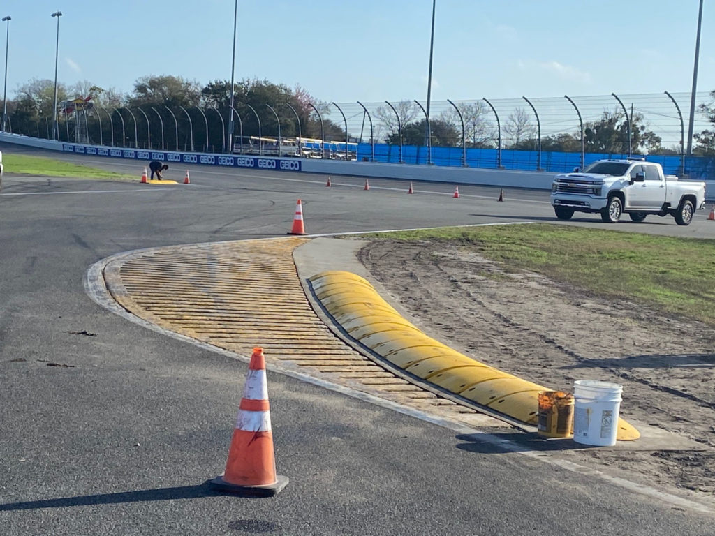 "The so-called ""turtle"" curbing installed at the exit of the chicane at Daytona International Speedway for the February 19-21 NASCAR races on the infield road course. Photo courtesy NASCAR."