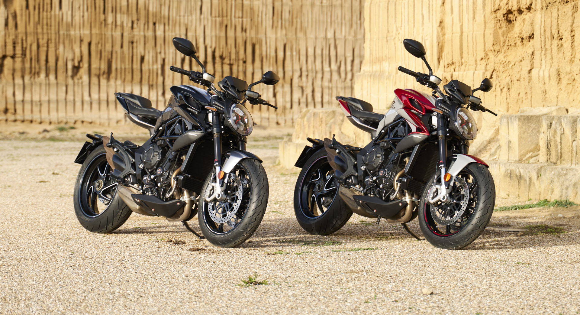 A 2021 MV Agusta Brutale RR (left) and a Brutale RR SCS (right) at rest. Photo courtesy MV Agusta.