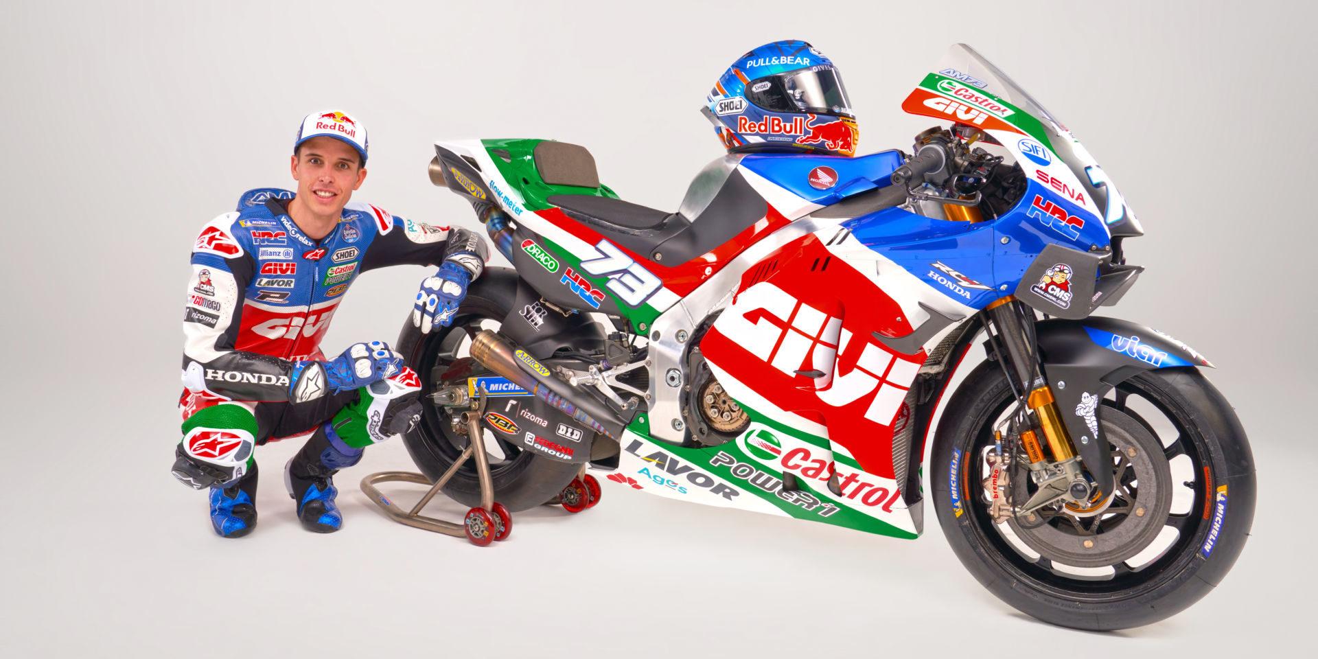 Alex Marquez and his new Honda RC213V. Photo courtesy LCR Honda Castrol.