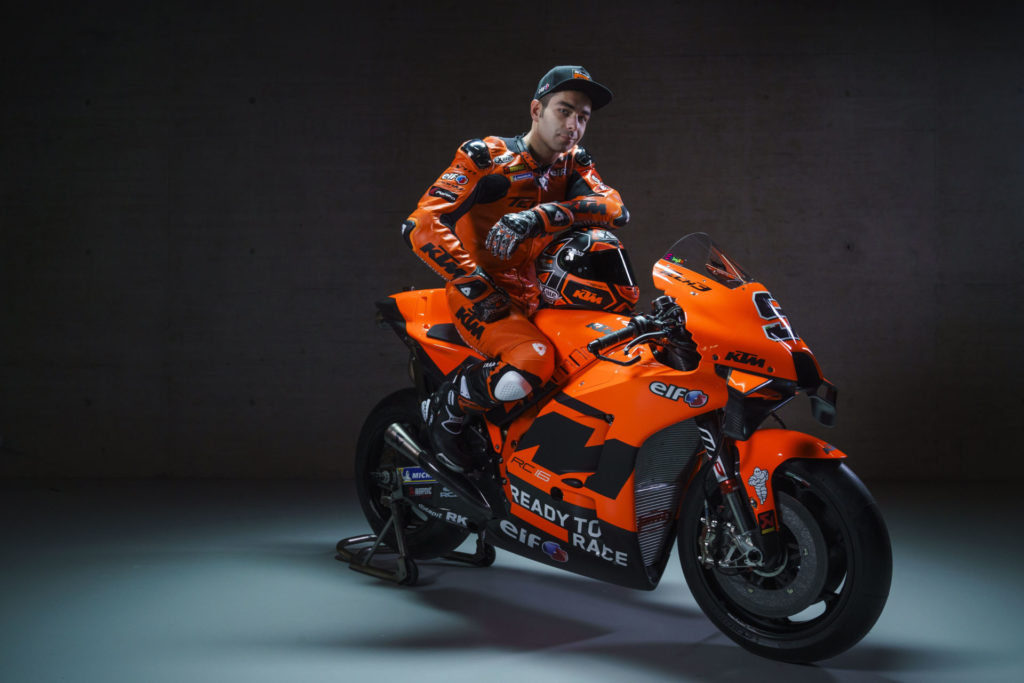 Danilo Petrucci and KTM RC16. Photo by Sebas Romero, courtesy KTM Factory Racing.