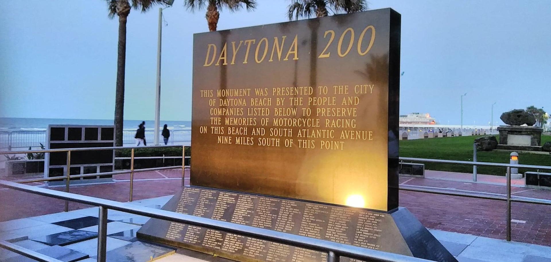 The Daytona 200 Monument. Photo by Amy Jacques, courtesy AHRMA.