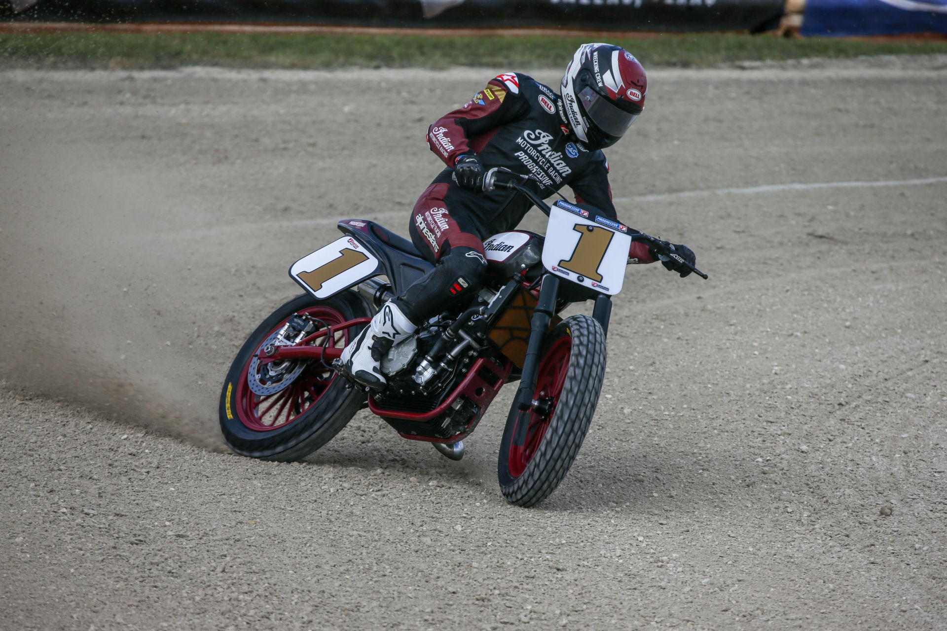 American Flat Track (AFT) SuperTwins Champion Briar Bauman (1). Photo courtesy Indian Motorcycle.