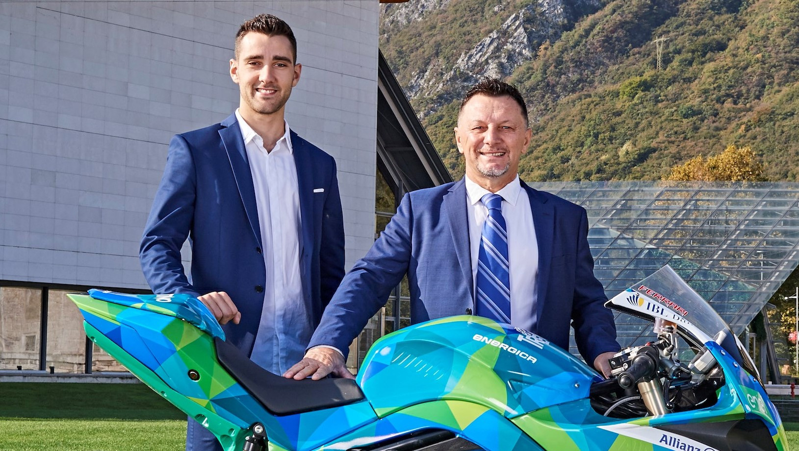 Fausto Gresini (right) with Matteo Ferrari (left) in early 2019. Photo courtesy Gresini Racing.