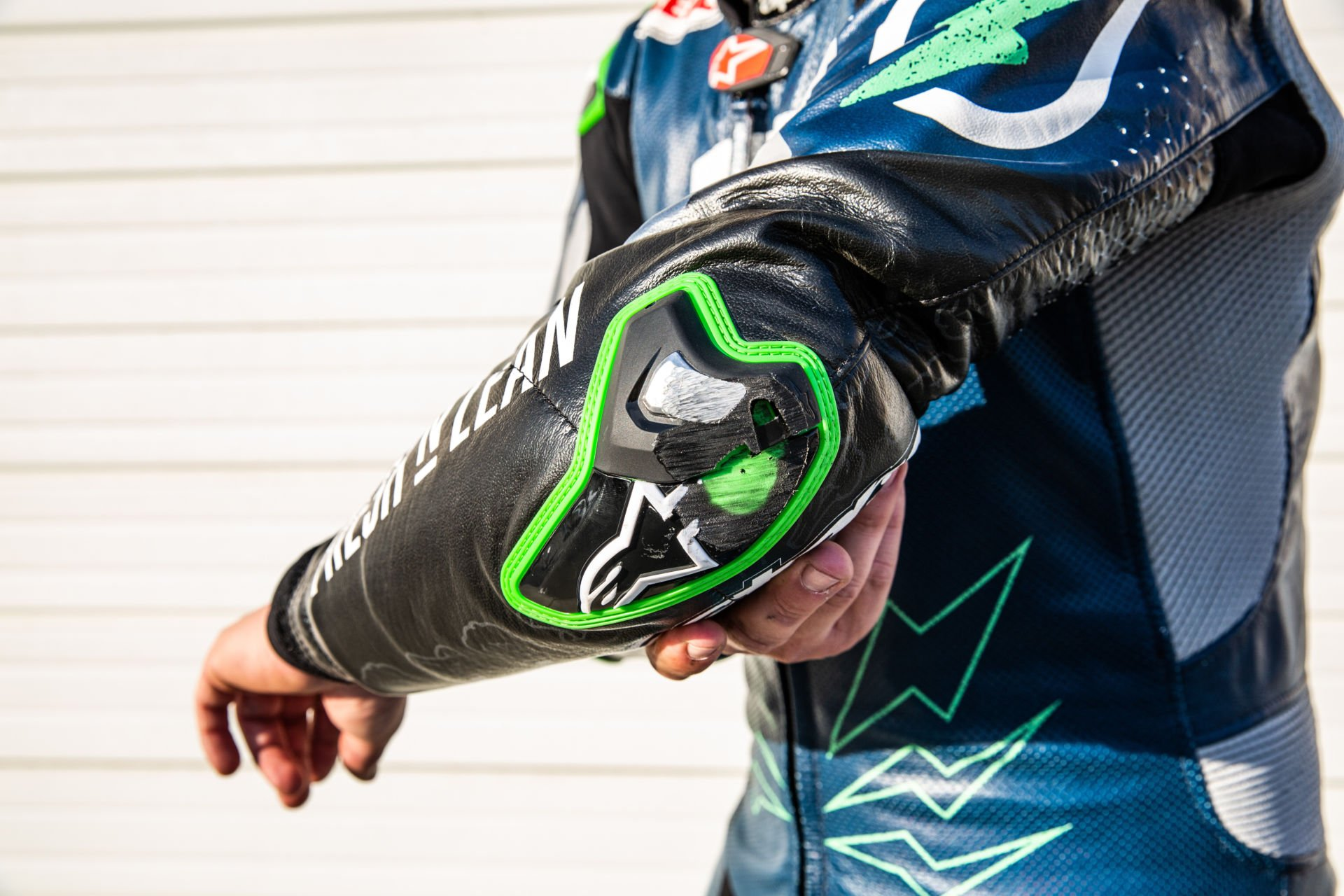 Josh Herrin's elbow slider after he established a new Guinness World Record for the fastest elbow drag while riding a motorcycle. Photo courtesy Fresh n' Lean.