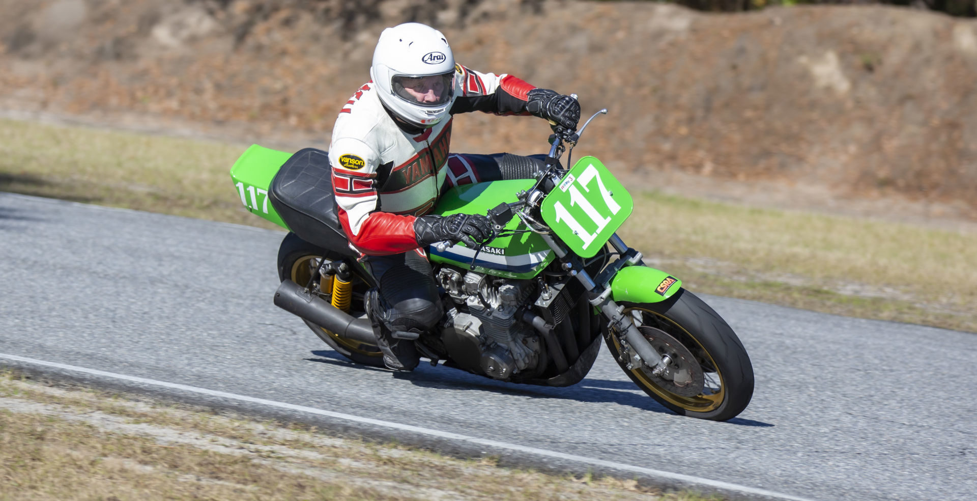 AHRMA racer David Crussell (117) on a Kawasaki