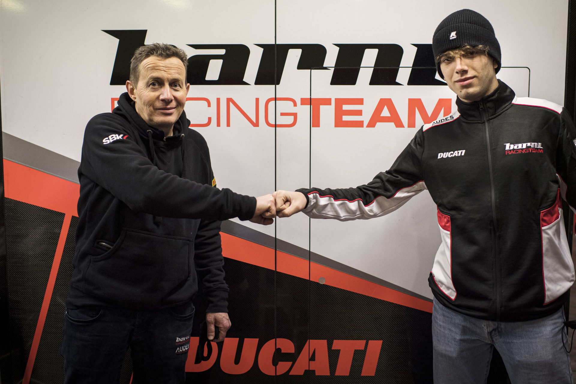 Team owner Marco Barnabo (left) and rider Nicholas Spinelli (right). Photo courtesy Barni Racing Team.
