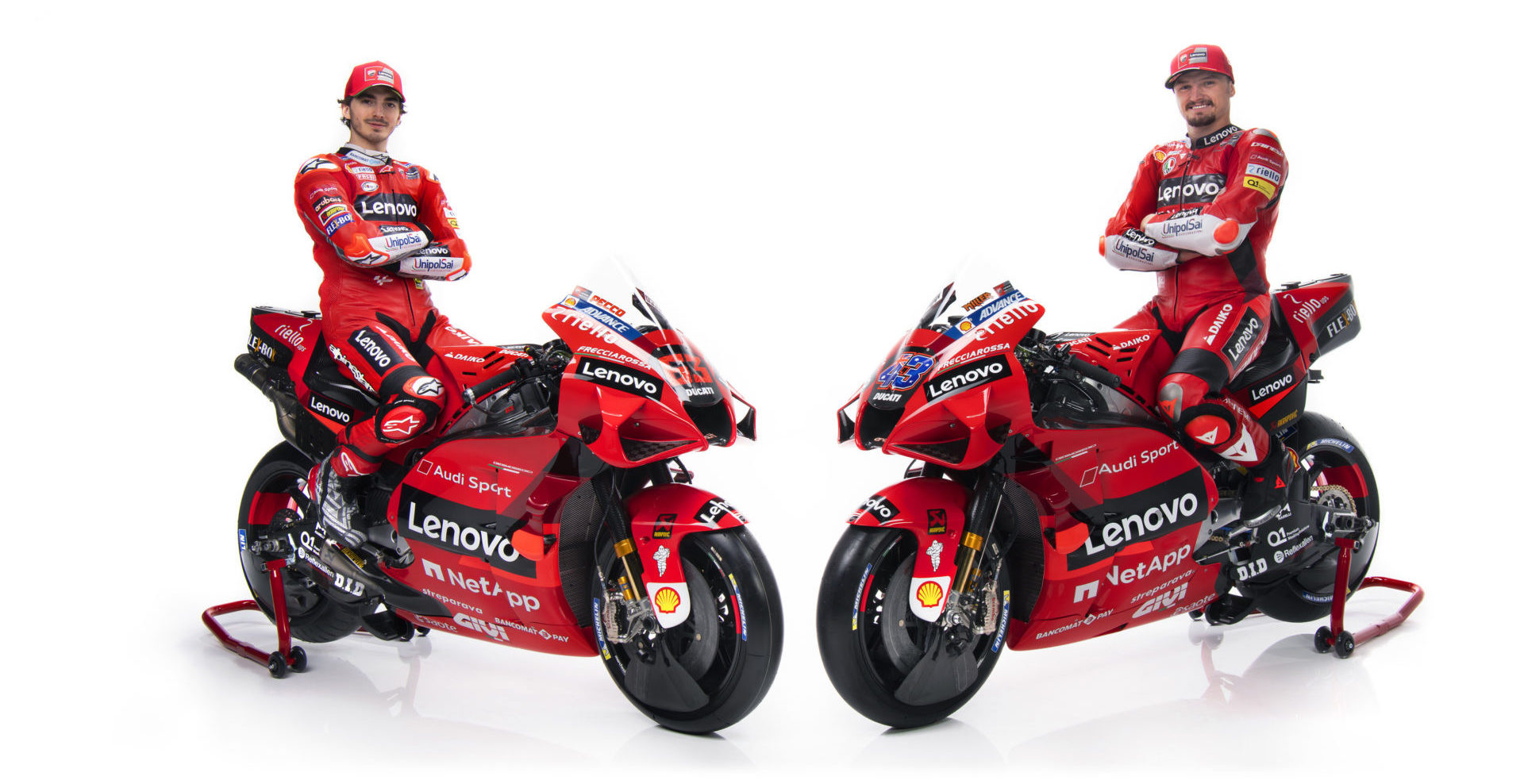 Francesco Bagnaia (left) and Jack Miller (right). Photo courtesy Ducati.