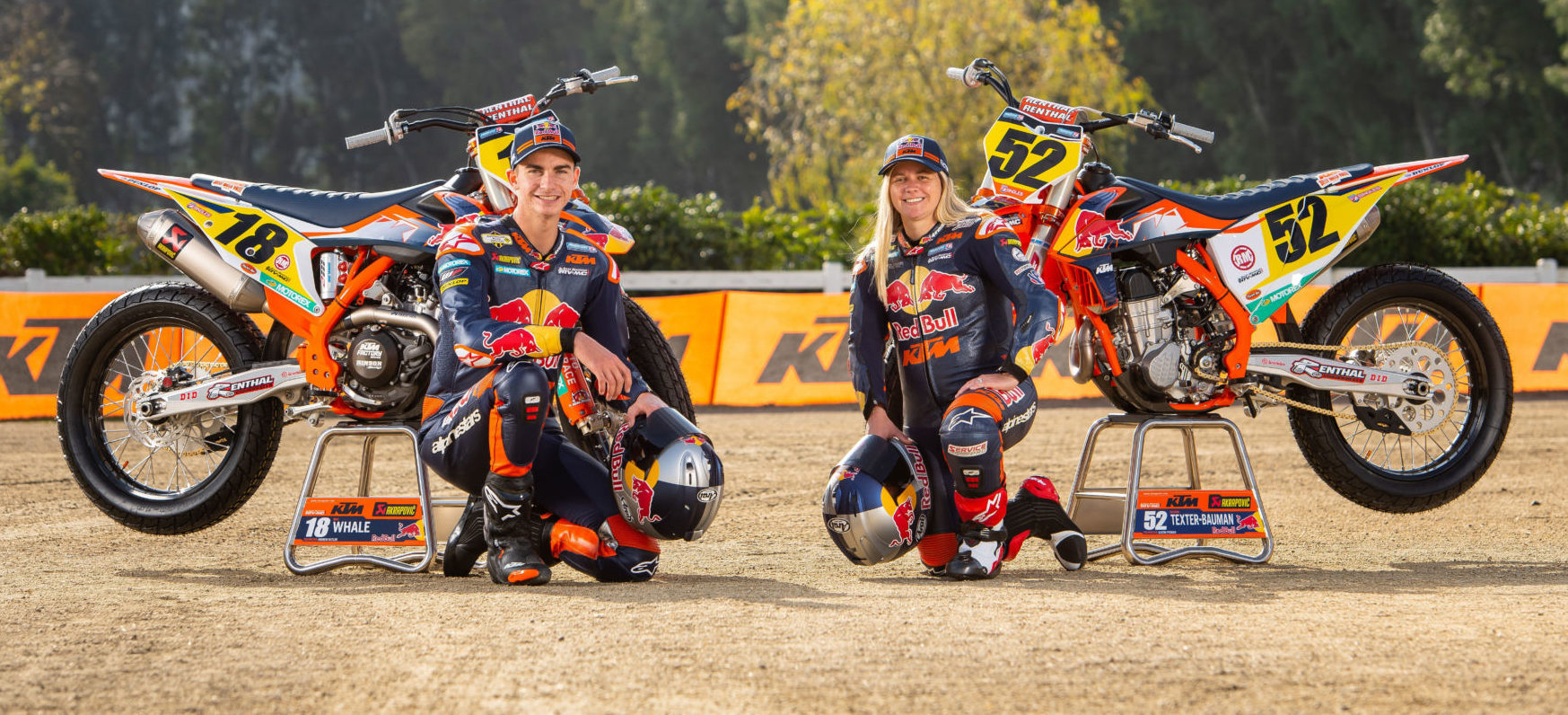 Red Bull KTM's 2021 AFT Singles riders Max Whale (left) and Shayna Texter Bauman (right). Photo courtesy Red Bull KTM.