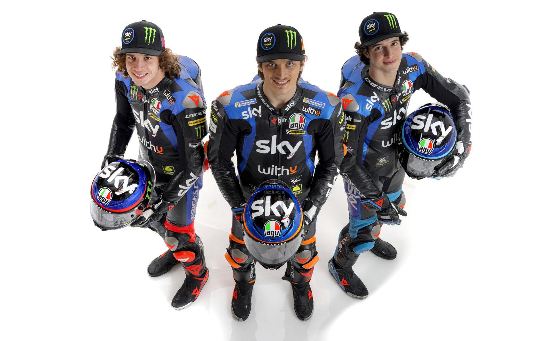 Sky Racing Team VR46 riders Marco Bezzecchi (left), Luca Marini (center), and Celestino Vietti Ramus (right). Photo courtesy Sky Racing Team VR46.