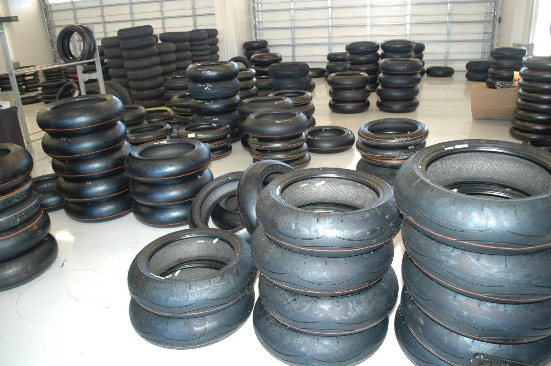 Dunlop motorcycle road racing tires. Photo by David Swarts.