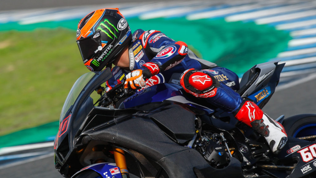 Michael van der Mark (60) during testing on his Pata Yamaha YZF-R1 World Superbike, which is fitted with a GBRacing engine case guard sporting a scuff that was probably made via contact with a curbing. Photo courtesy Dorna WorldSBK Press Office.