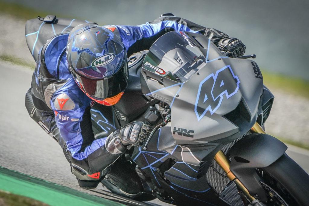 Pol Espargaro (44) riding a Honda CBR1000RR-R Fireblade SP at Circuit de Barcelona-Catalunya. Photo courtesy Dorna.