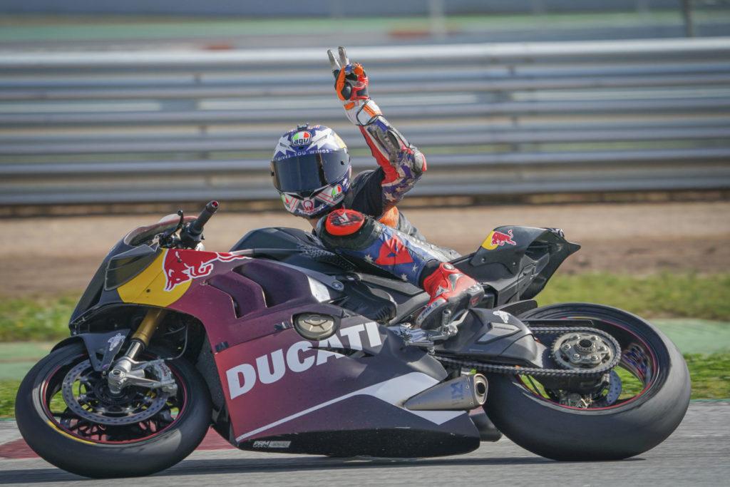 Jack Miller riding a Ducati Panigale V4 R at Circuit de Barcelona-Catalunya. Photo courtesy Dorna.