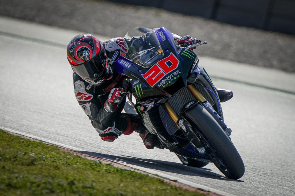 Fabio Quartararo riding a Yamaha YZF-R1 at Circuit de Barcelona-Catalunya. Photo courtesy Dorna.
