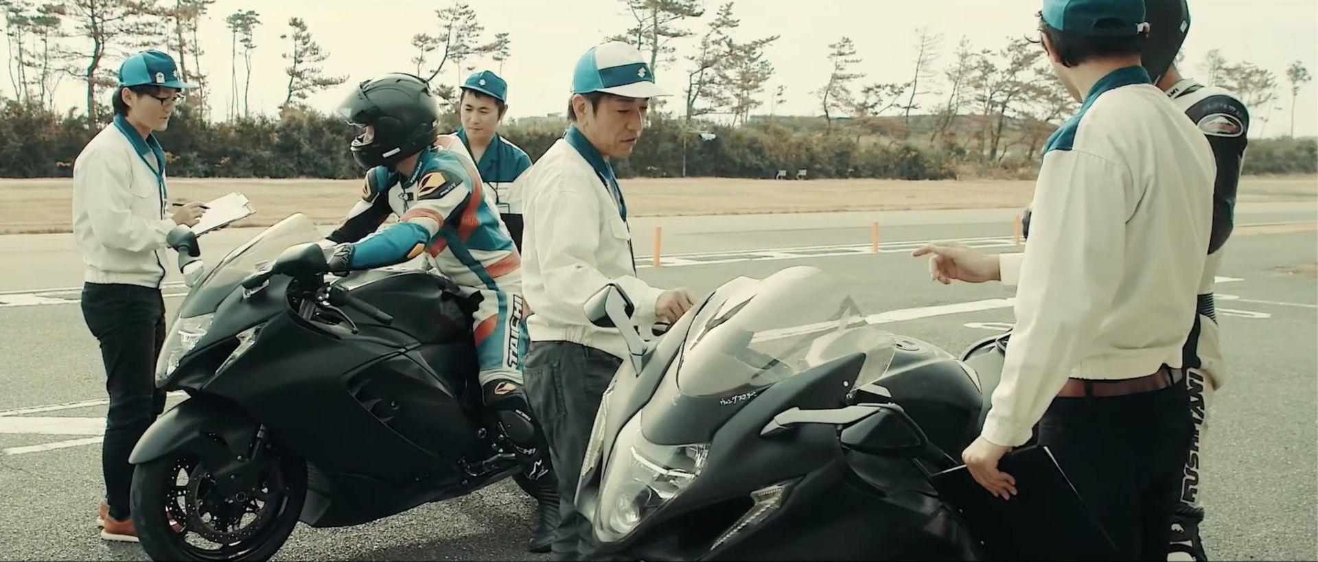 Suzuki engineers and test riders working on the all-new 2022 Hayabusa. Photo courtesy Suzuki Motor of America, Inc.