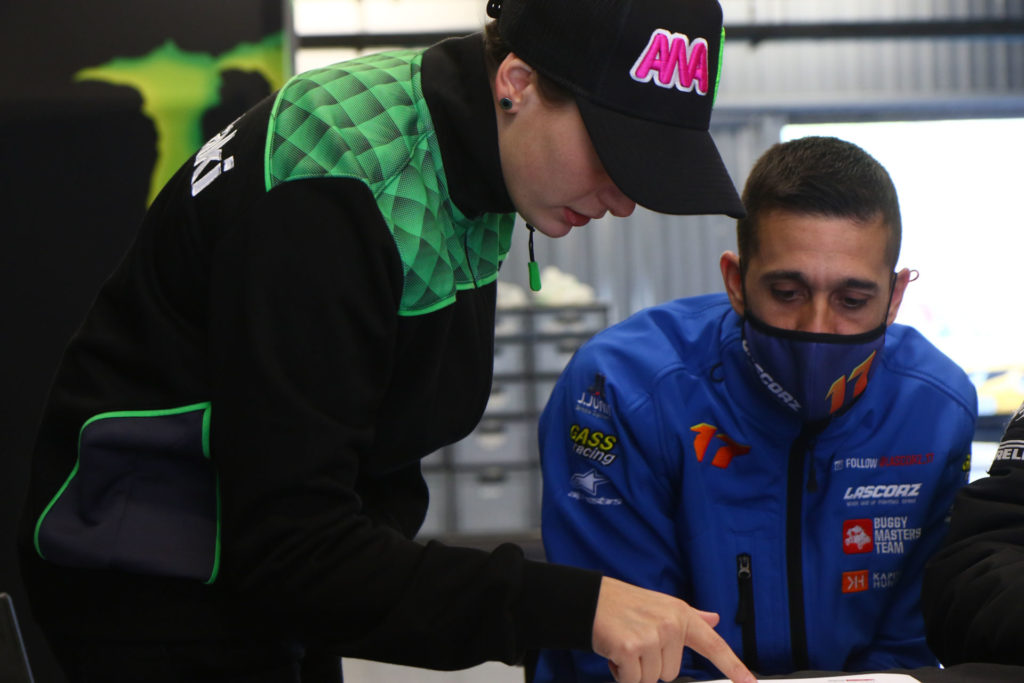 Ana Carrasco (left) working with former World Superbike racer Joan Lascorz (right). Photo courtesy Kawasaki.