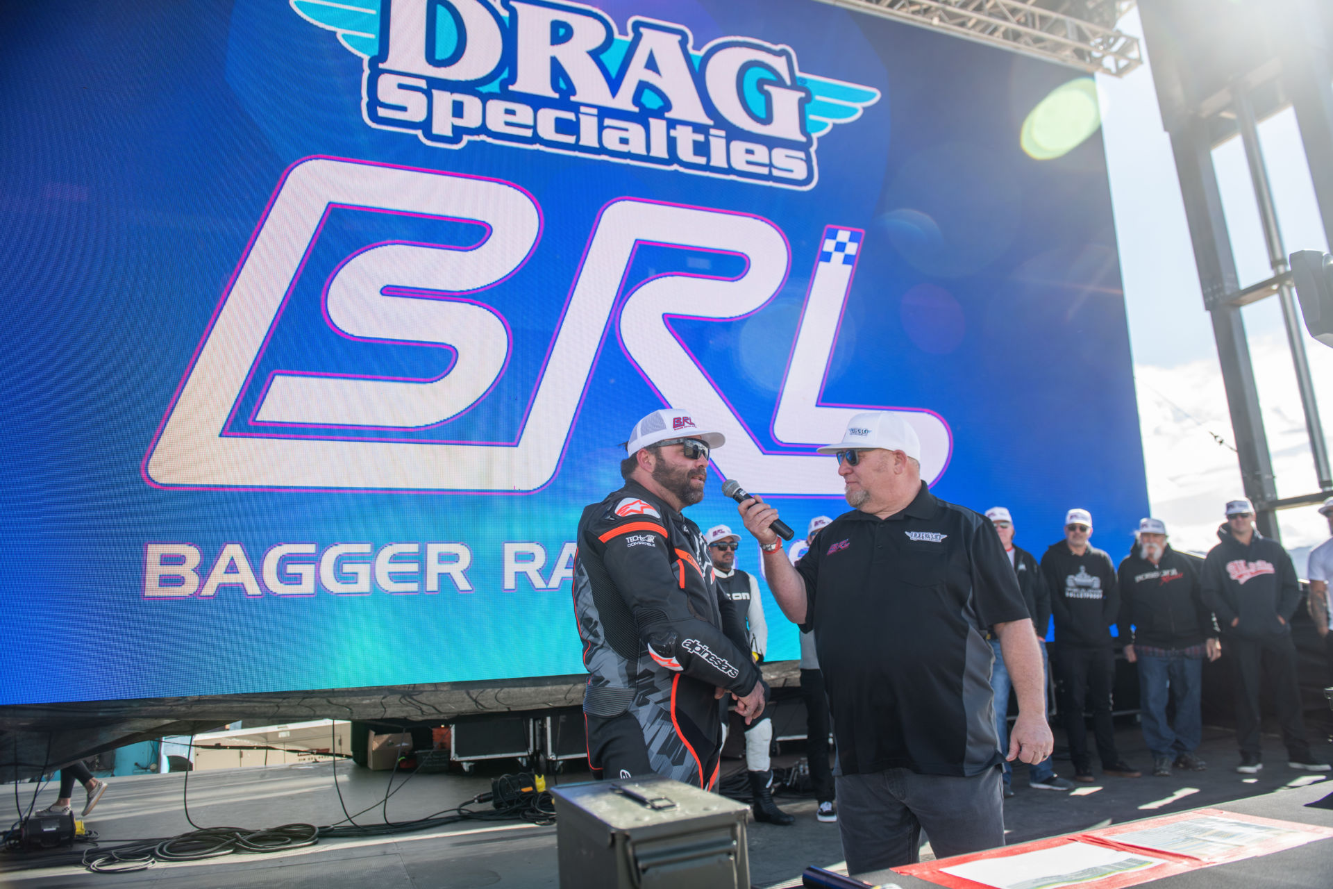 Bagger Racing League founder Rob Buydos interviews a rider at the BRL announcement event at Chuckwalla Valley Raceway. Photo by Justin George, courtesy BRL.