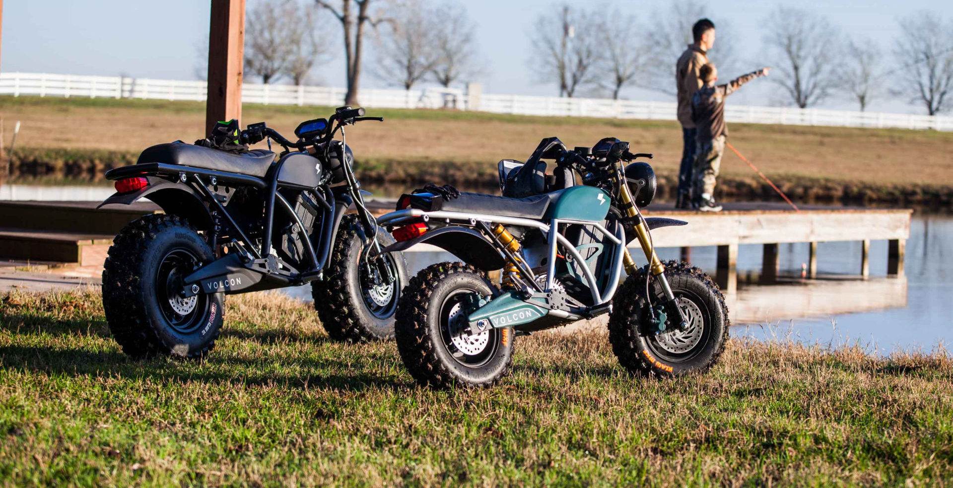 Volcon all-electric motorcycles, a Grunt (left) and the new youth model