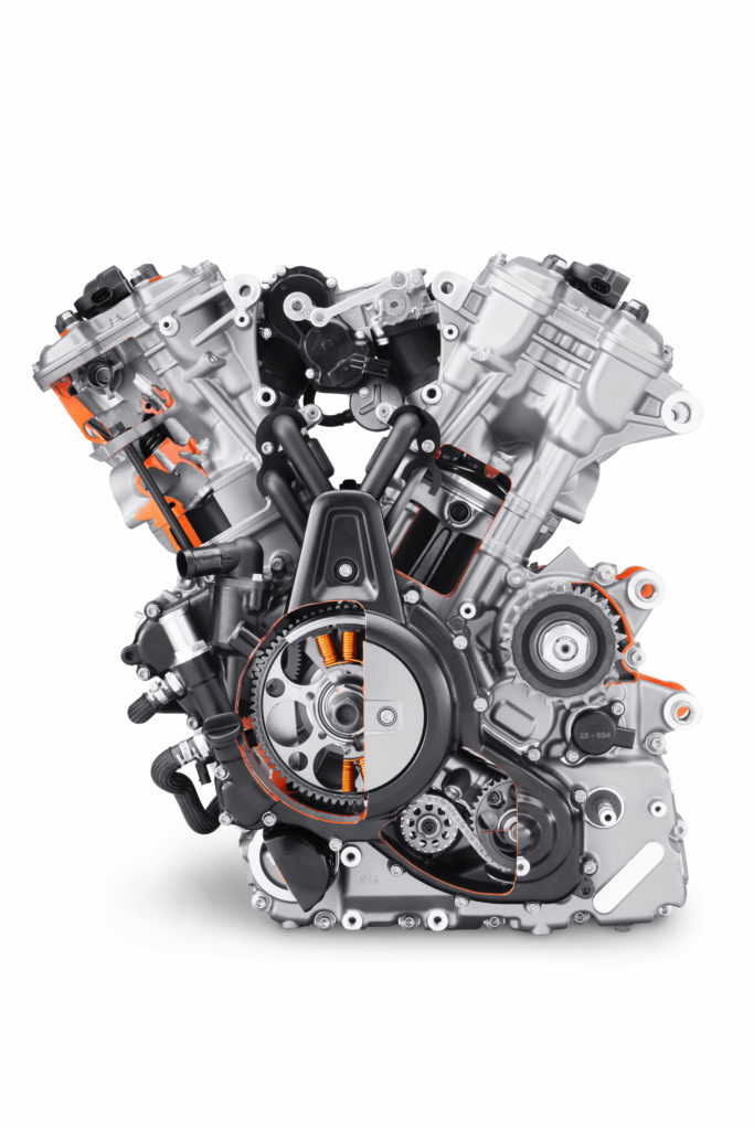 Harley-Davidson's new Revolution Max 1250 V-Twin engine with sections cut away to display the internal parts. Photo courtesy Harley-Davidson.