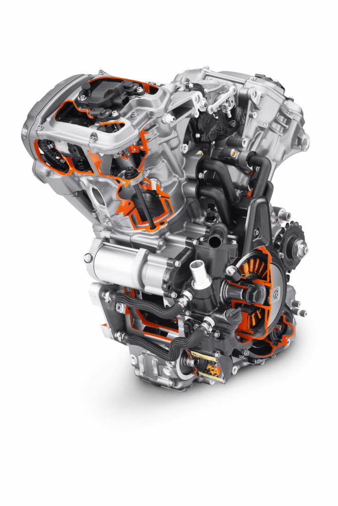 A front view of Harley-Davidson's new Revolution Max 1250 V-Twin engine with sections cut away to display the internal parts. Photo courtesy Harley-Davidson.