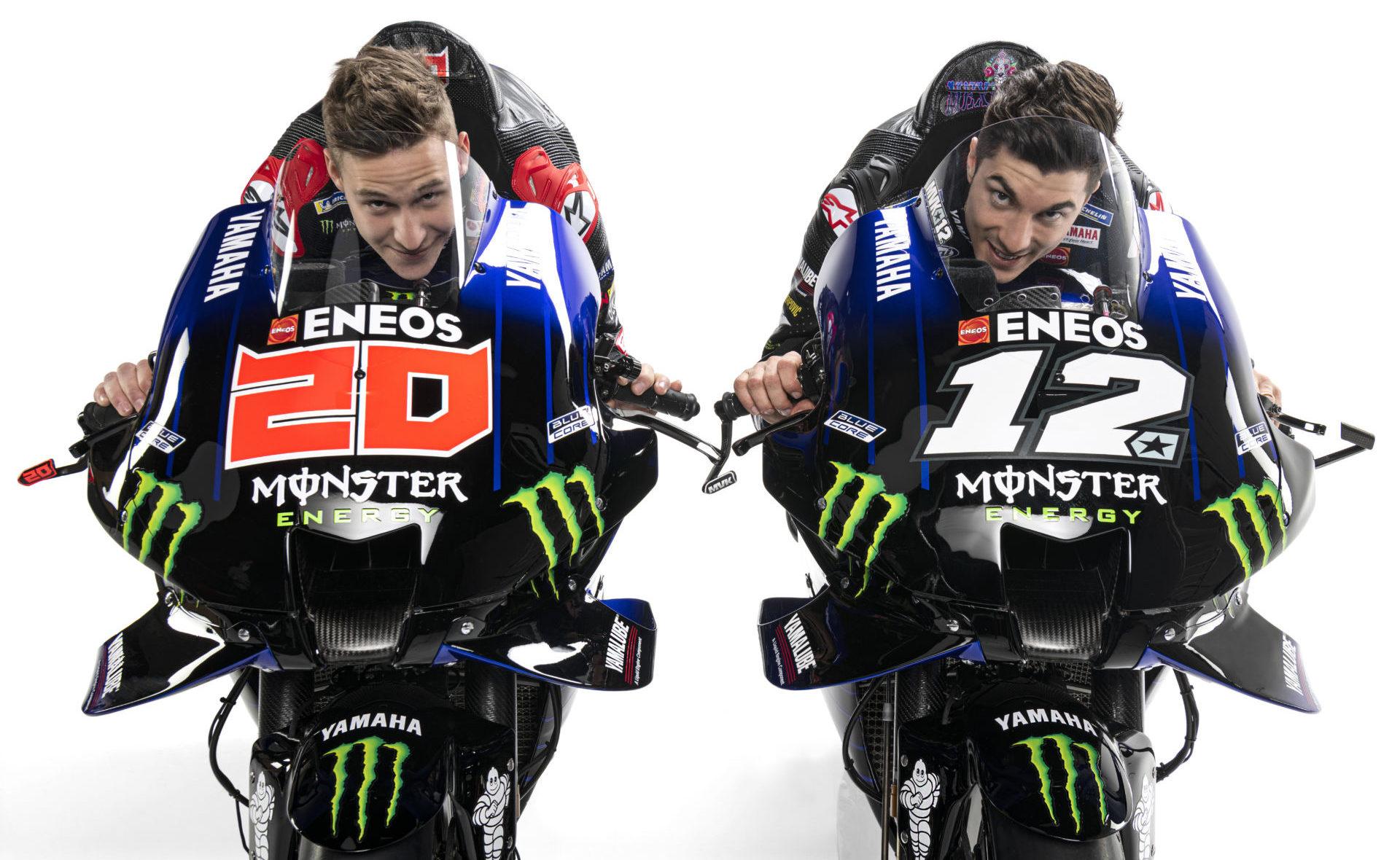 Fabio Quartararo (left) and Maverick Vinales (right). Photo courtesy Monster Energy Yamaha.