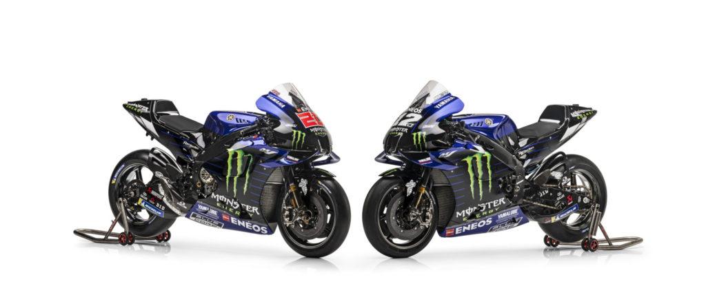 The Monster Energy Yamaha YZR-M1 racebikes of Fabio Quartararo (20) and Maverick Vinales (12). Photo courtesy Monster Energy Yamaha.
