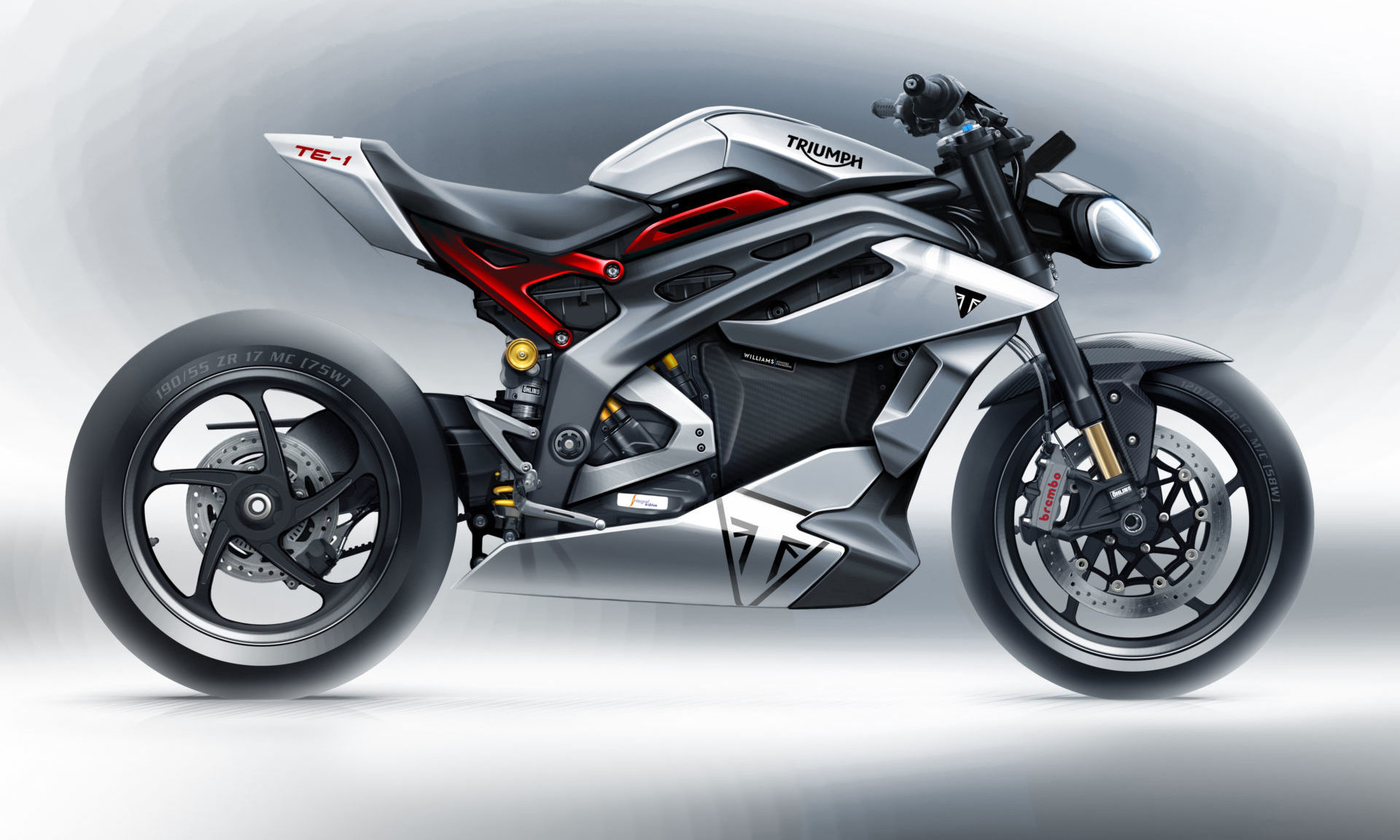 The styling sketch of the new Triumph Project TE-1 electric motorcycle. Image courtesy Triumph.