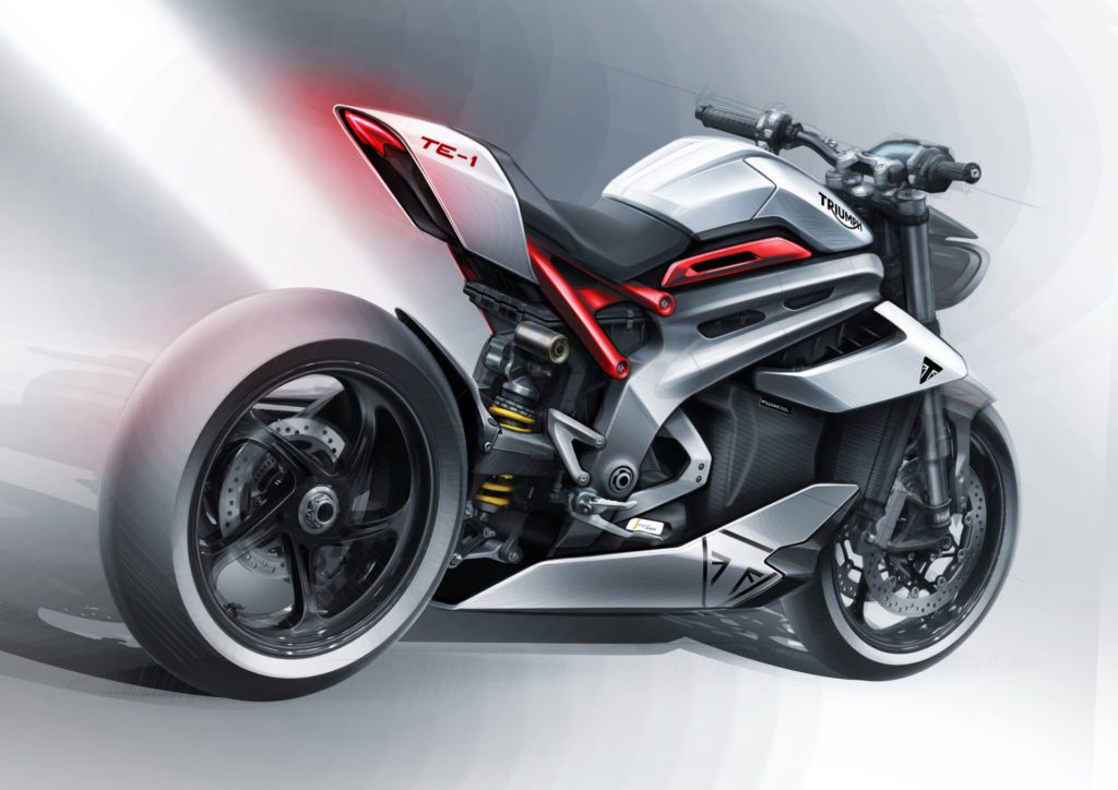 A styling sketch of the new Triumph Project TE-1 electric motorcycle. Image courtesy Triumph.