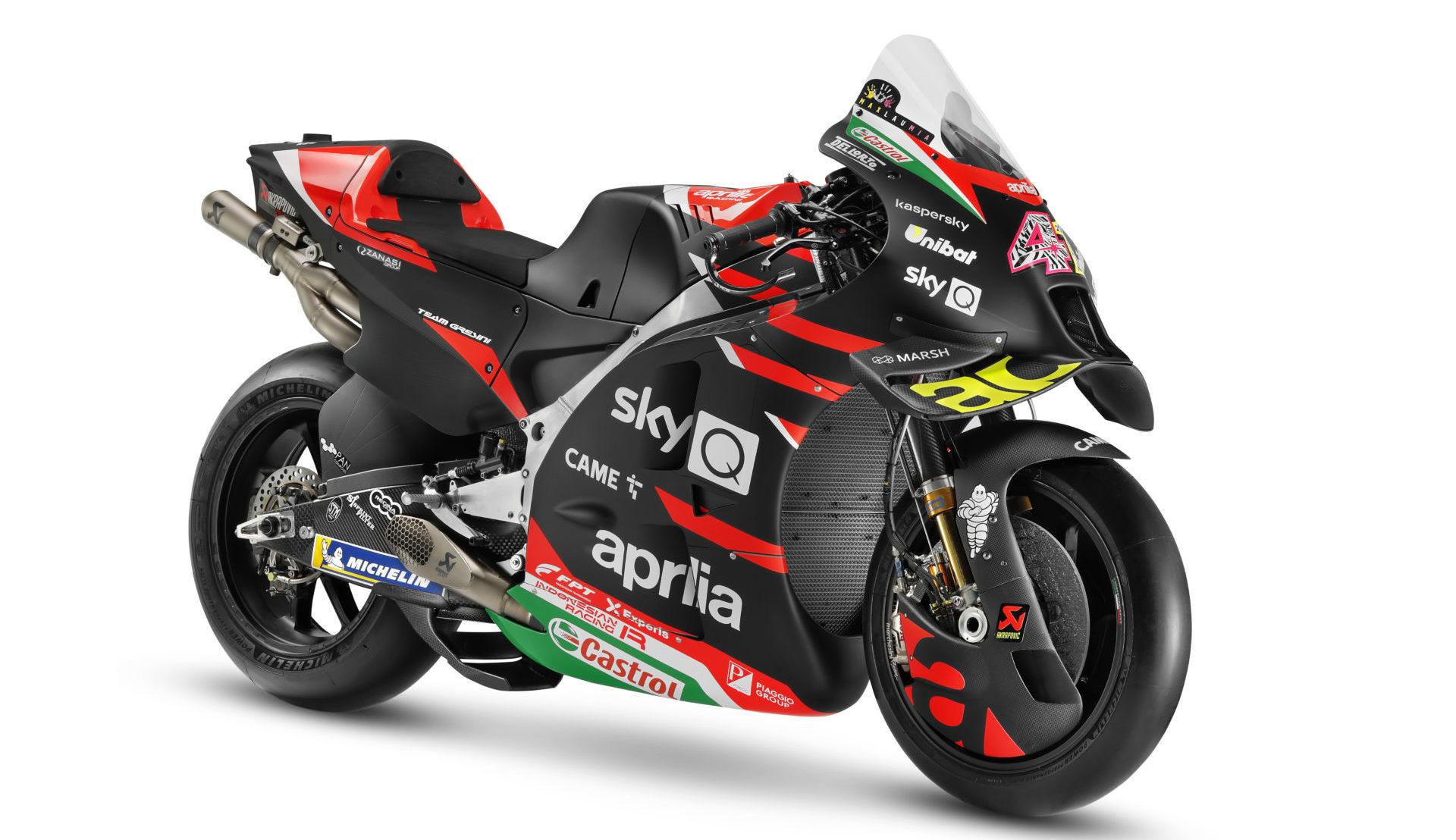 Aleix Espargaro's 2021 Aprilia RS-GP MotoGP racebike. Photo courtesy Aprilia.