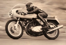 Racer Peter Frank on a Norton production-class racebike in the 1970s.