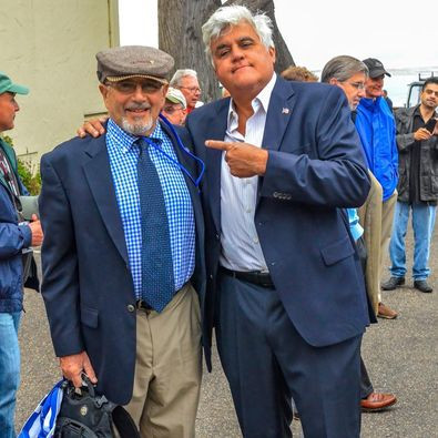Peter Frank with Jay Leno at a car show in 2013