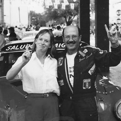 Peter and Patty Frank in 1992, after Peter won his class in the Pan-American car road race in Mexico
