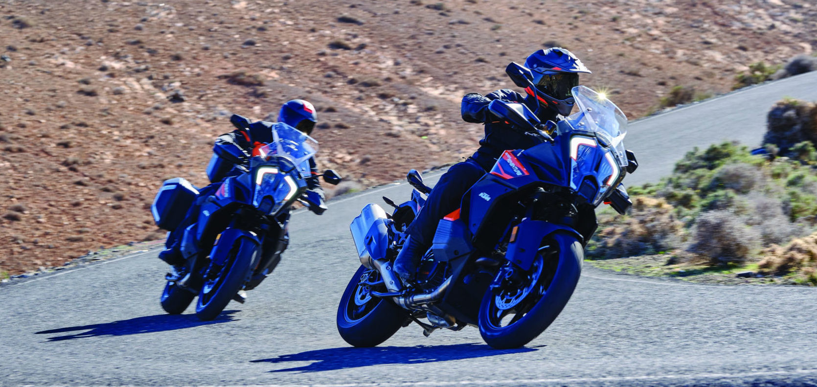 2021-model KTM 1290 Super Adventure S motorcycles in action. Photo courtesy KTM.