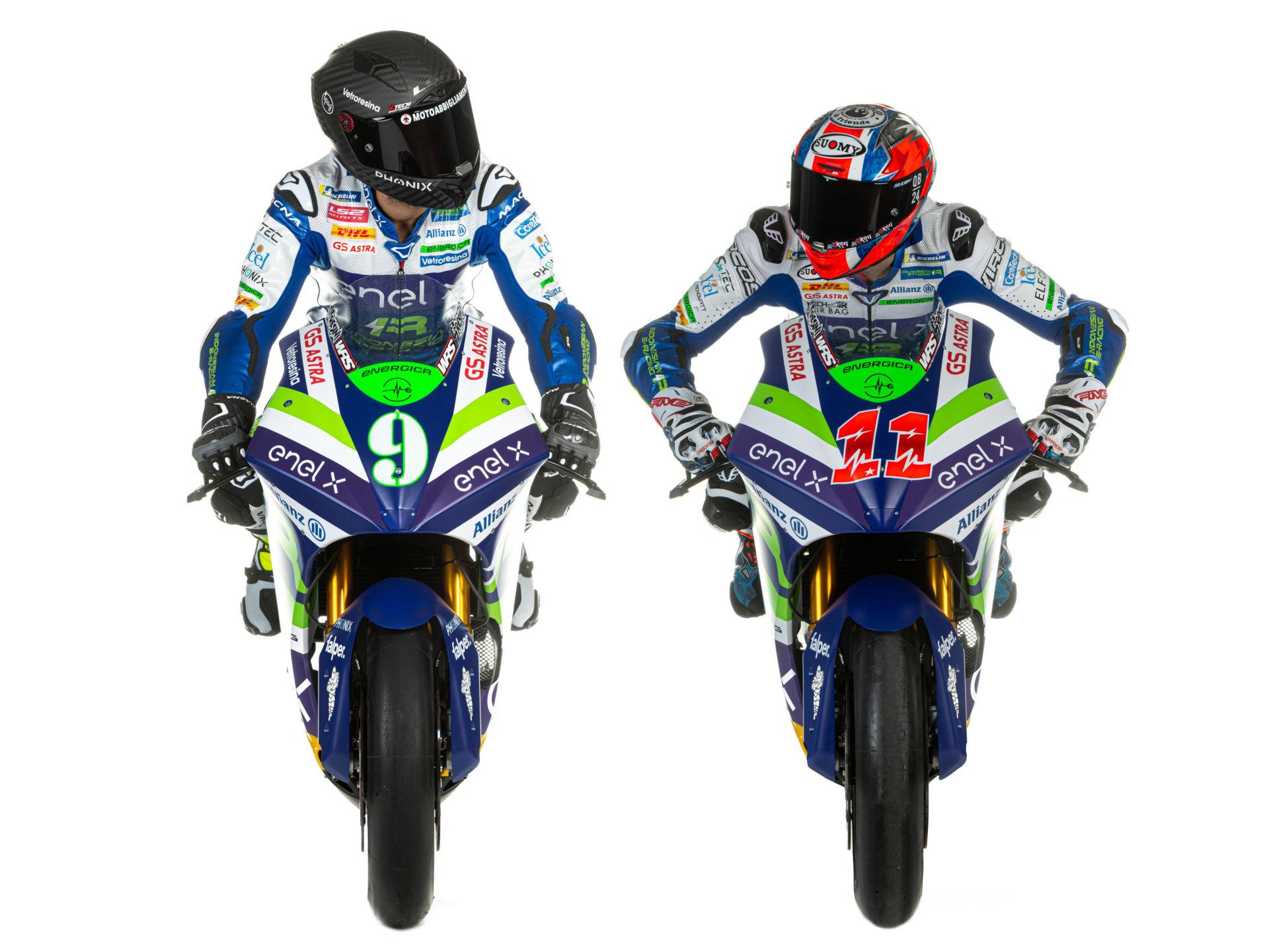 Team Gresini MotoE riders Andrea Mantovani (9) and Matteo Ferrari (11). Photo courtesy Gresini Racing.