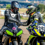MRA instructor Jason Martinez (245) congratulates a new MRA racer. Photo by Brandon Wren Photography, courtesy MRA.