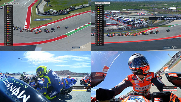 On MotoGP's Video Pass streaming service you can watch four different video feeds simultaneously. Photo courtesy Dorna.