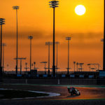 Aleix Espargaro rides through the twilight at Losail International Circuit, in Qatar. Photo courtesy Dorna.