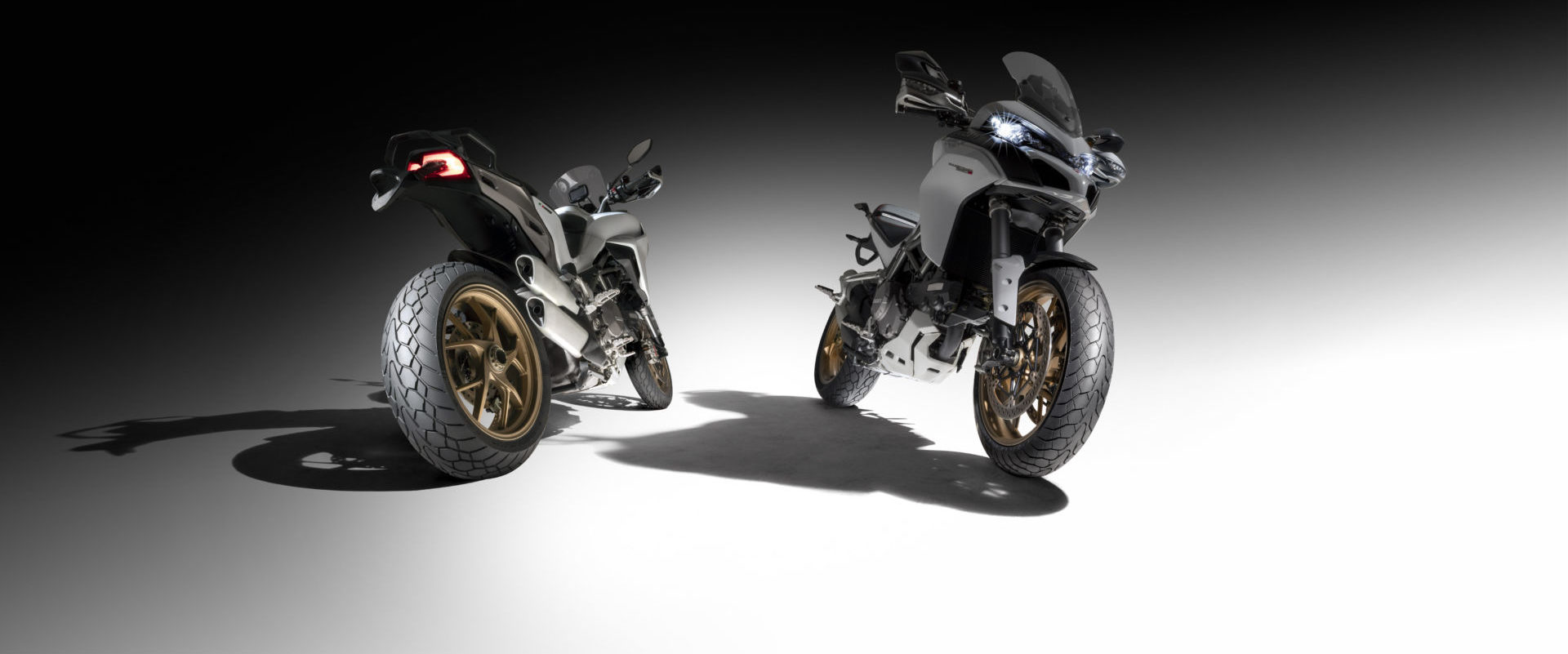Dunlop's new Mutant tires mounted on Ducati Multistrada streetbikes. Photo courtesy Dunlop.