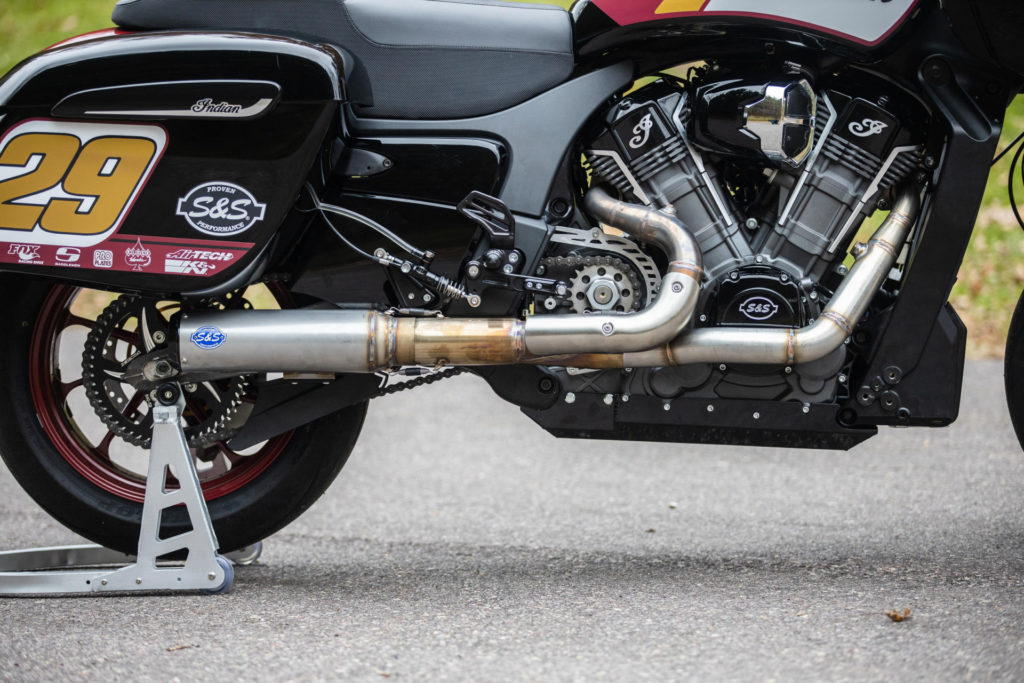 High and tight. The S&S Cycle exhaust and billet aluminum ignition case cover keep the hard parts off the deck. Photo courtesy S&S Cycle and MotoAmerica.