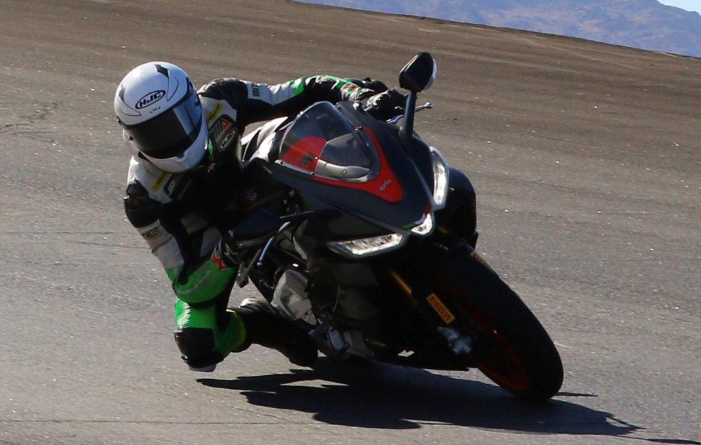 Toby Khamsouk testing on a new Aprilia RS 660 streetbike. Photo courtesy Robem Engineering.