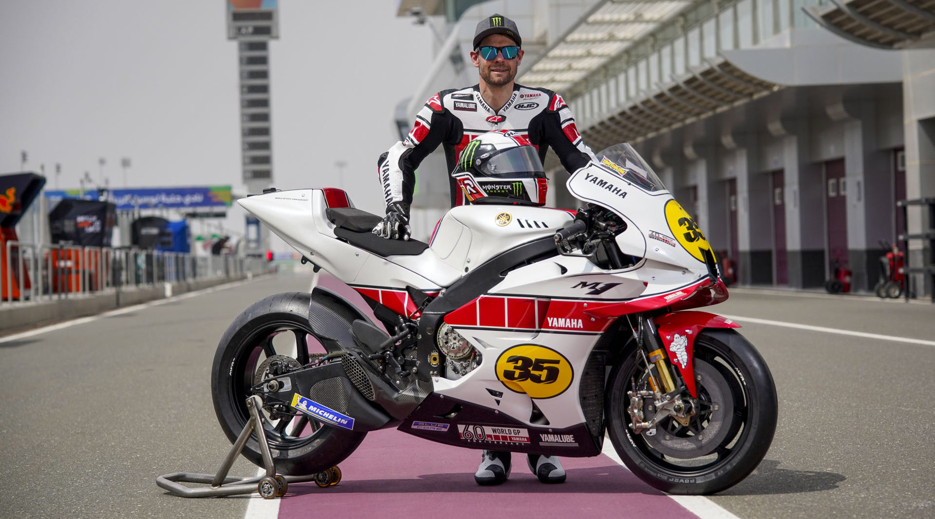 Yamaha MotoGP test rider Cal Crutchlow and his YZR-M1 in special livery to celebrate Yamaha's 60th anniversary in Grand Prix racing. Photo courtesy Yamaha.