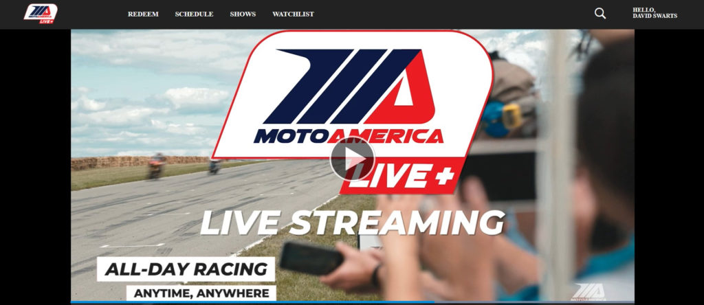 A screenshot of MotoAmerica Live+.