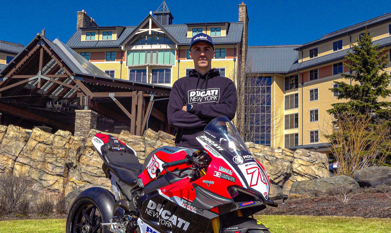 Loris Baz and his new Ducati Panigale V4 R Superbike in front of Mount Airy Casino Resort in Pennsylvania. Photo courtesy Warhorse HSBK Racing Ducati New York.