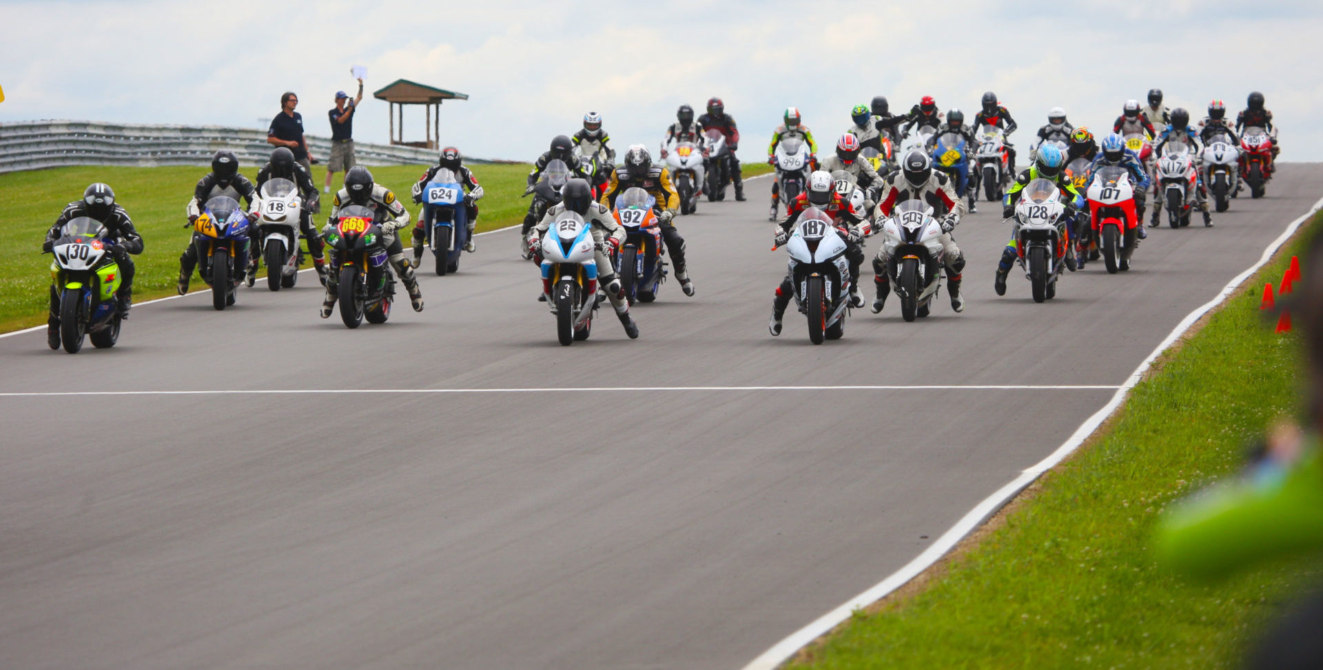 The starting grid of an N2/WERA National Endurance race. Photo courtesy N2 Track Days.