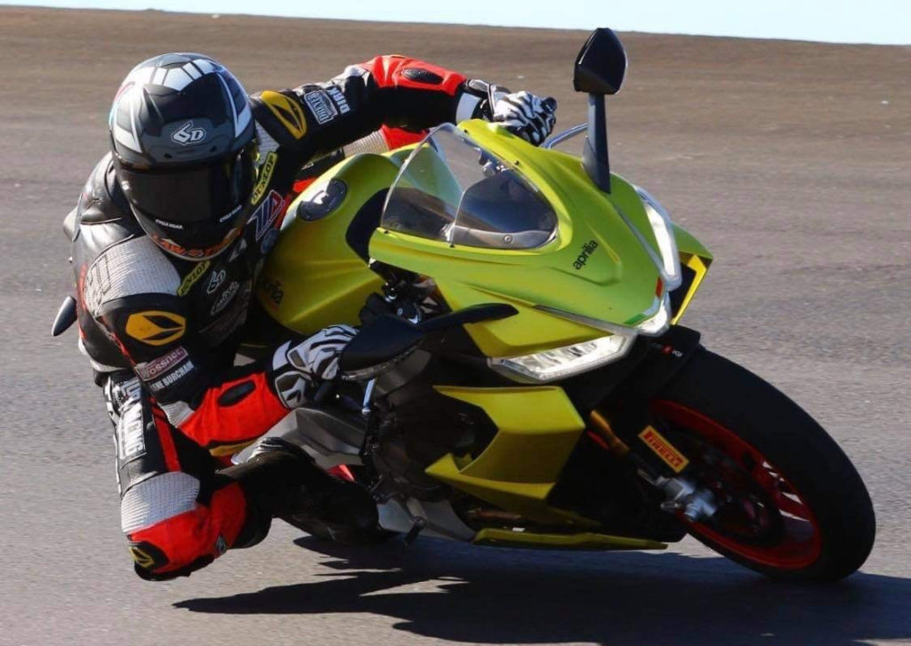 Hayden Schultz testing on a new Aprilia RS 660 streetbike. Photo by CaliPhotography, courtesy Robem Engineering.