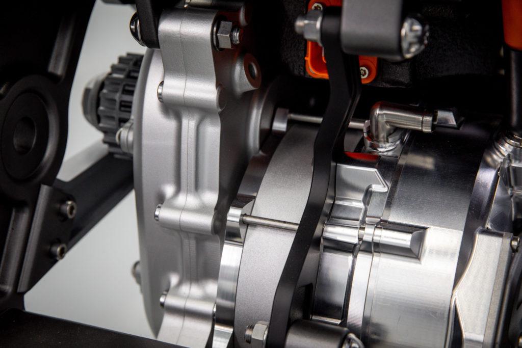 Integral Powertrain Ltd.'s e-Drive electric motor/inverter unit as seen from the top rear. Photo courtesy Triumph.