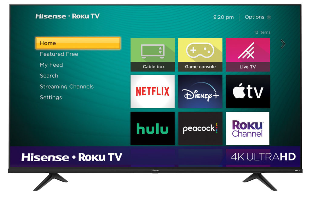 A Hisense Roku 4K smart TV showing the home screen and a menu and available streaming services, like Netflix. Photo courtesy Hisense.