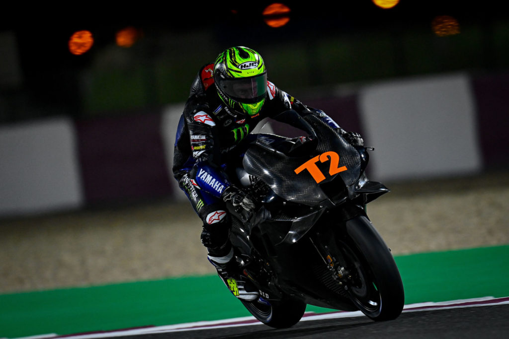 Yamaha test rider Cal Crutchlow (T2) was in action Friday in Qatar. Photo courtesy Dorna.
